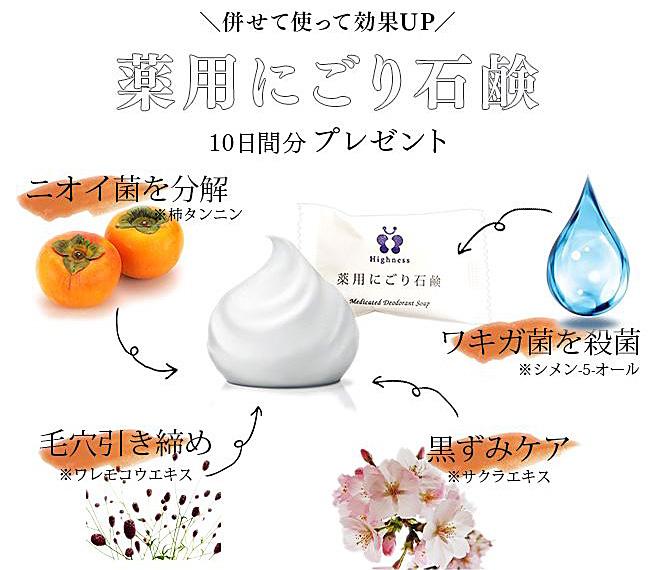 デオドラントクリーム ハイネス購入プレゼントの「薬用にごり石鹸」とは?